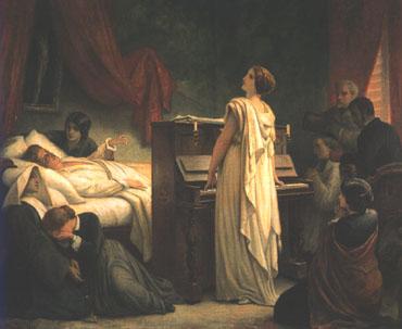 フランス画家フェリックス・ジョセフ・バリアス『ショパンの死』 奥で手を握っているのが姉ルドヴィカ,手前で泣き崩れているのがジョルジュ・サンドの娘ソランジュ,ピアノを弾きながら歌っているのがデルフィナ・ポトツカ伯爵夫人。