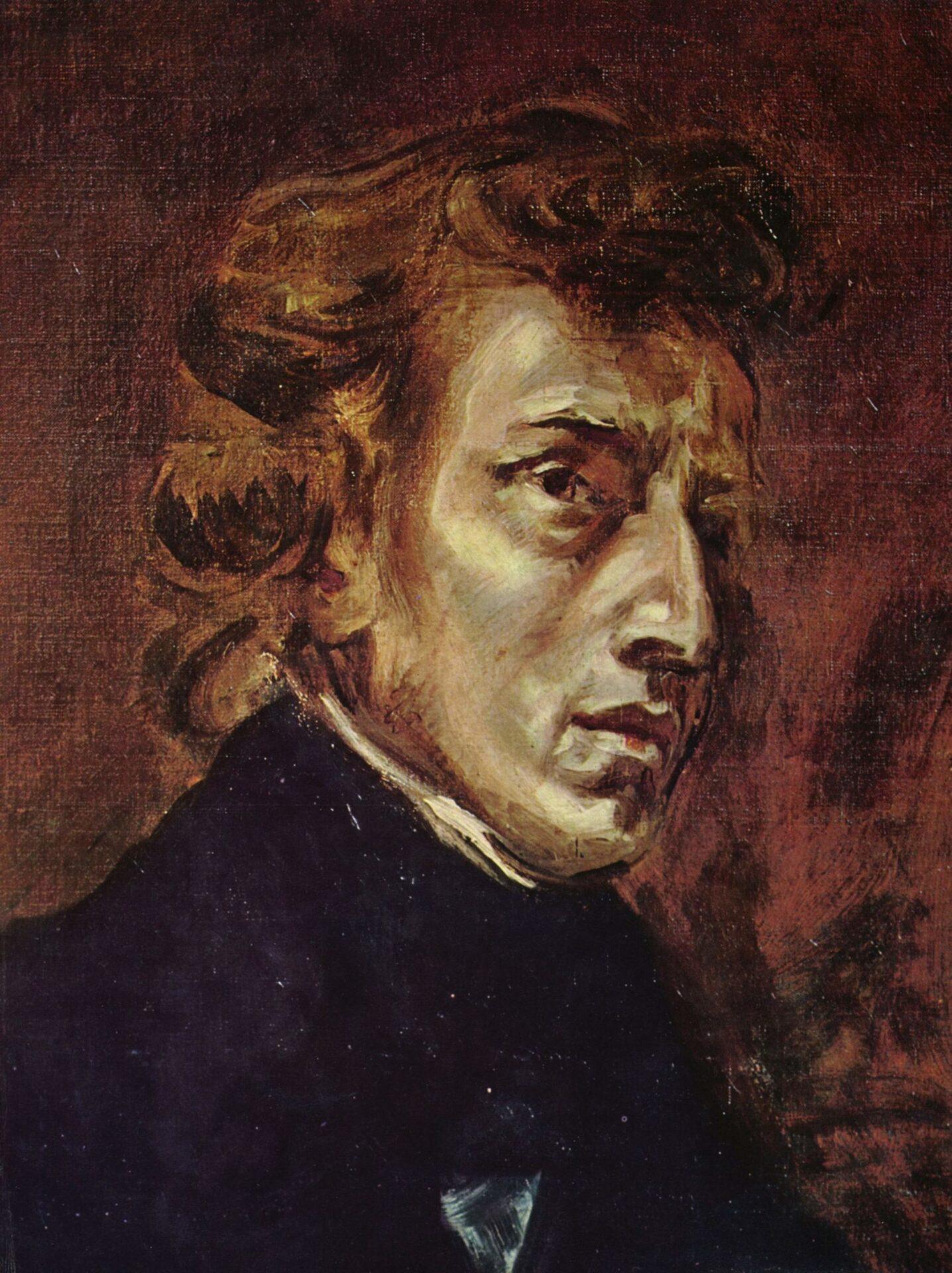 ドラクロワ画 1838年6月に描かれたときははジョルジュ・サンドと二人で一枚に書かれた絵だったが,1889年に絵の持ち主によって二枚に分割され,ショパンの部分はルーヴル美術館に,サンドの部分はデンマーク王立美術館に所蔵されている。