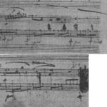 プレリュードOp.28-15自筆譜,中間部直前。1度書かれたスラーが消され,書き直されている。
