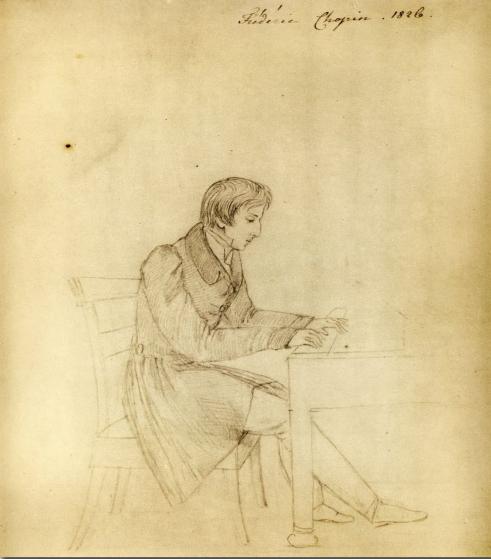 エリザ・ラジヴィウーヴナによるスケッチ。16歳のショパン。ワルシャワ,ショパン協会所蔵。
