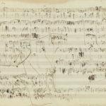 マズルカ ヘ短調Op.68-4の自筆譜。病床で仰臥しながら最後の力を振り絞って書き残したショパンの絶筆である。