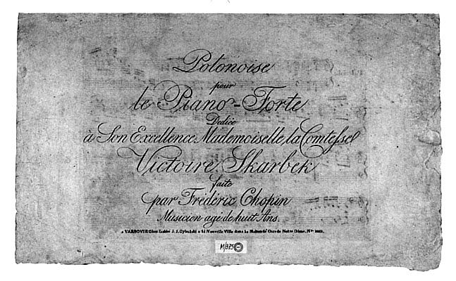 1817年に出版されたポロネーズト短調の表紙。一番下に「8歳の作品」」と印刷されている。