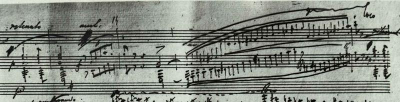 バラード1番ト短調Op.23の自筆譜。スケールにはペダル指示がない。