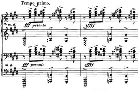 ラフマニノフ前奏曲嬰ハ短調Op.3-2 fff中にsffffが指示されている。