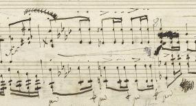 自筆譜121小節目 f(フォルテ)らしき書き込みを塗りつぶして消している。