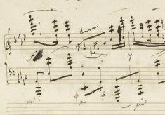 自筆譜155小節目 ff(フォルテシモ)がf(フォルテ)に書き換えられている。