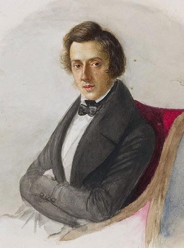 26歳のショパン。婚約者だったマリア・ヴォジニスカによる水彩画。ワルシャワ国立博物館所蔵。