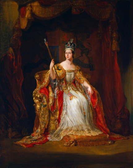 戴冠式の際のヴィクトリア女王を描いたジョージ・ハイターの肖像画