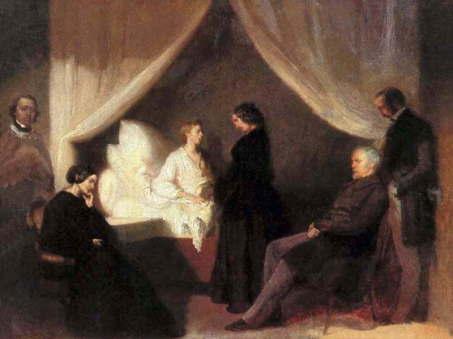 『死の床にあるショパン』 1849年 テオフィル・クヴィアトコフスキ作