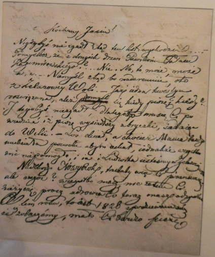 少年ショパンの手紙。達筆である。