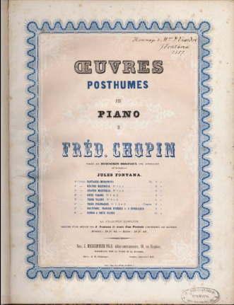 ショパン遺作集フランス初版の表紙