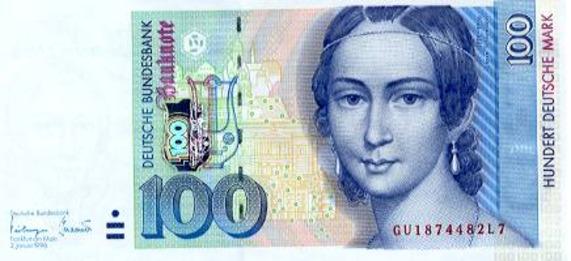 旧100マルク紙幣。クララ・シューマンの肖像。